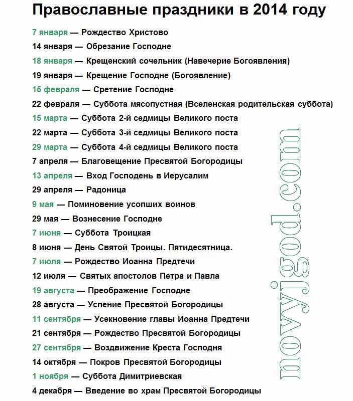 Православные праздники в 2014 году