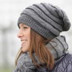 Модная вязаная шапка-чулок