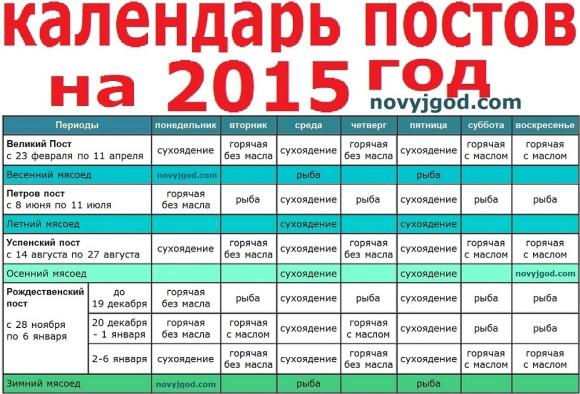 Календарь постов на 2015 год