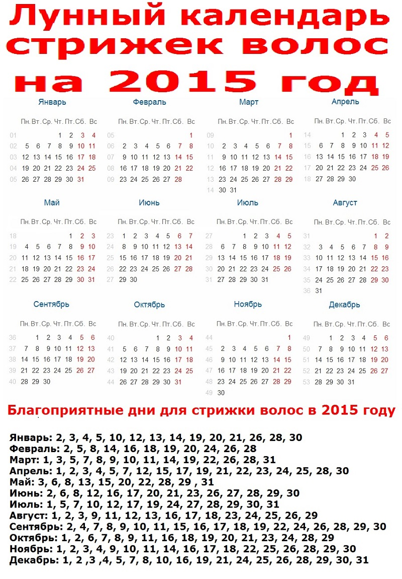 Лунный календарь стрижек 2015 года