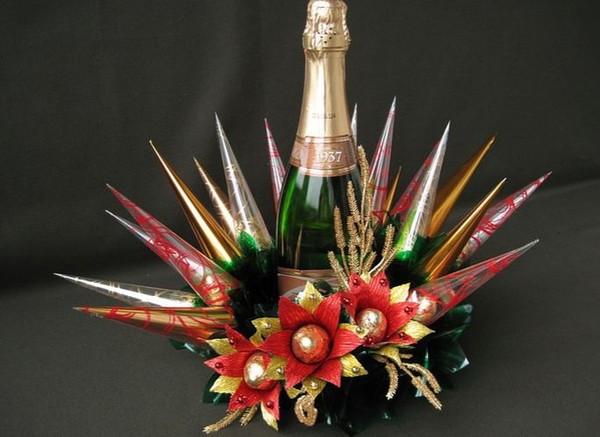 Шампанское с конфетами на новый год своими