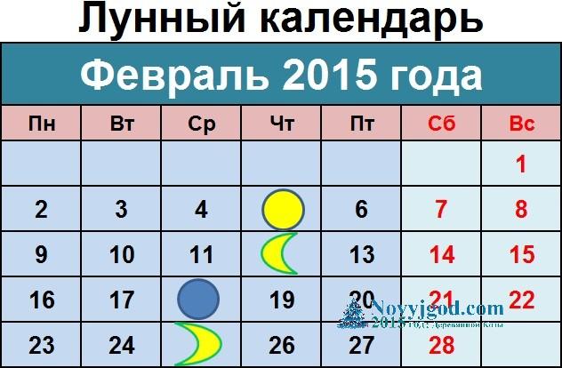 Лунный календарь на февраль 2015 года