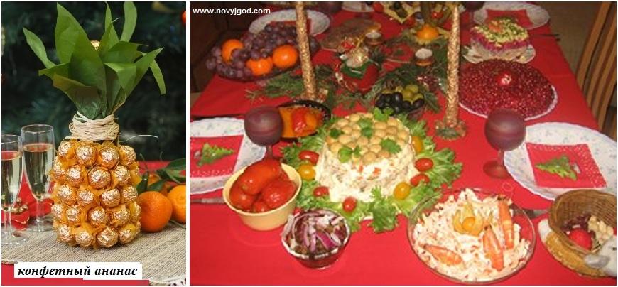 Композиция из праздничных новогодних блюд