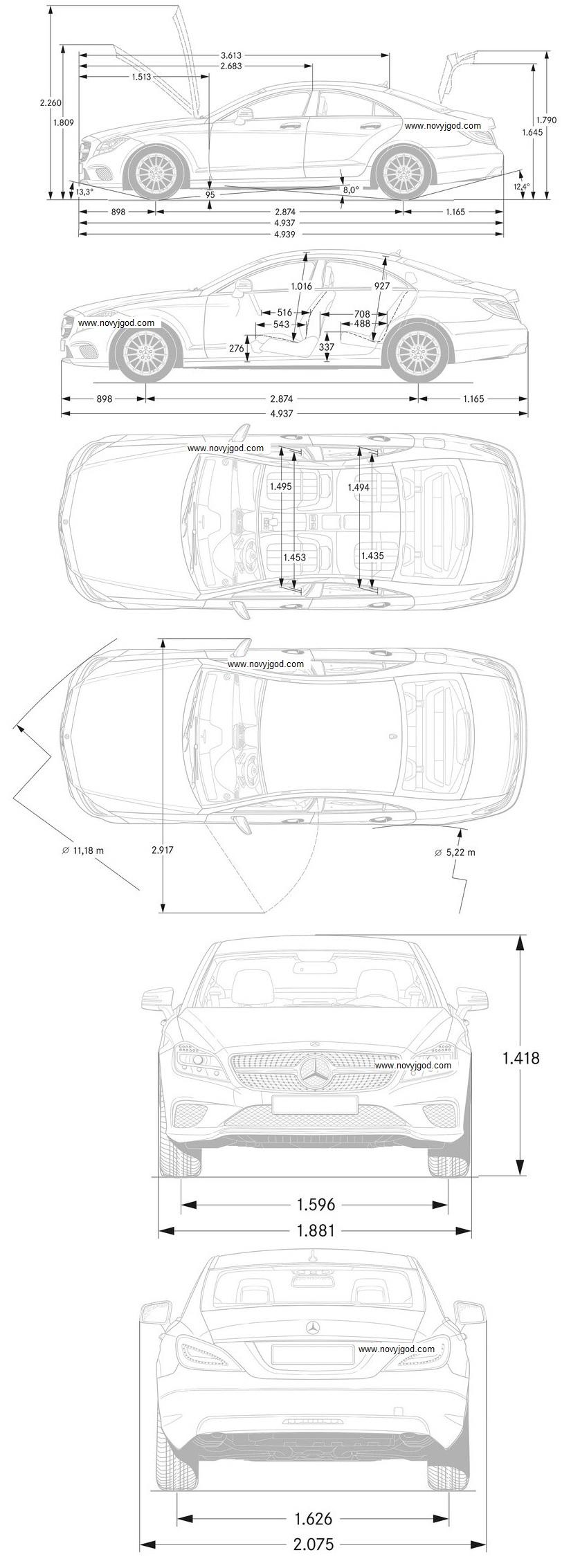 Схема габаритов Mercedes-Benz CLS-Class 2016